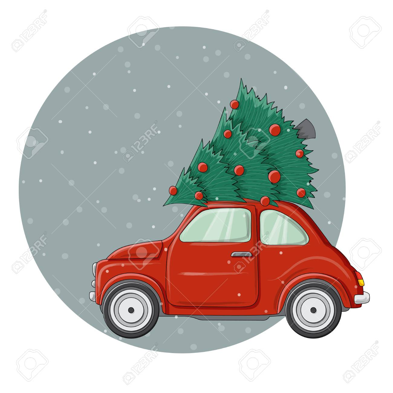 Little red bug car illustration with decorated Christmas pine...