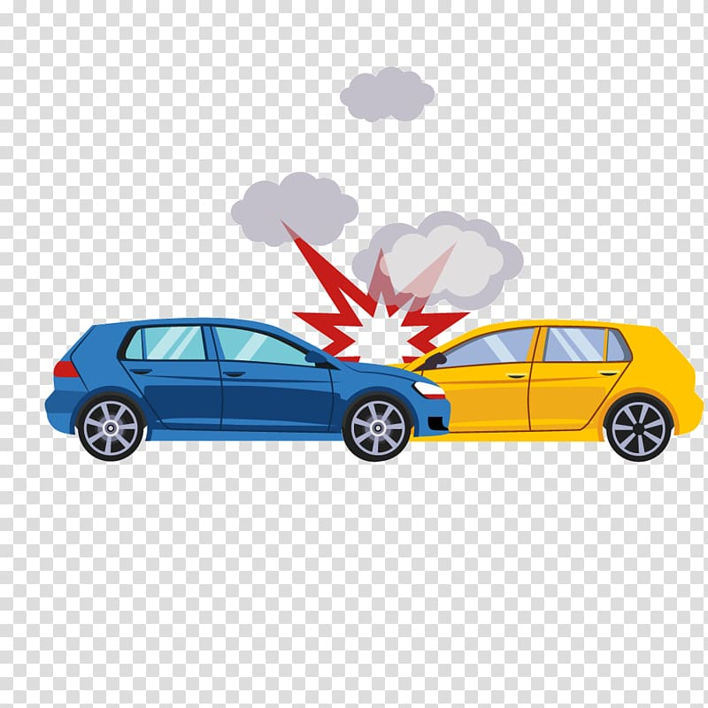 Blue and yellow car illustration, Traffic collision Car Accident.