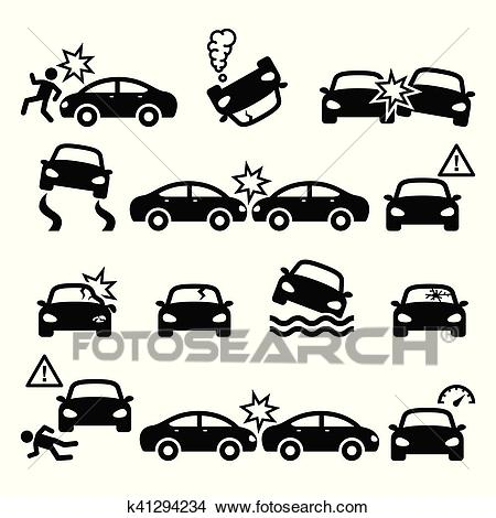 Road accident, car crash, personal injury vector icons set Clipart.