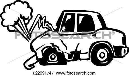 Clip Art of , accident, auto, automobile, car, cartoon, collision.