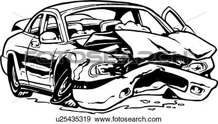 Clip Art of illustration, lineart, car, auto, automobile, wreck.
