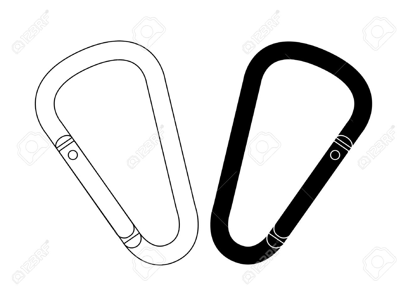 Set Of Safety Hiking Metal Mountain Climbing Carabiners. Black.