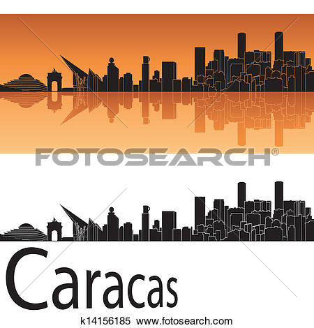 Clipart of Caracas skyline in orange background k14156185.
