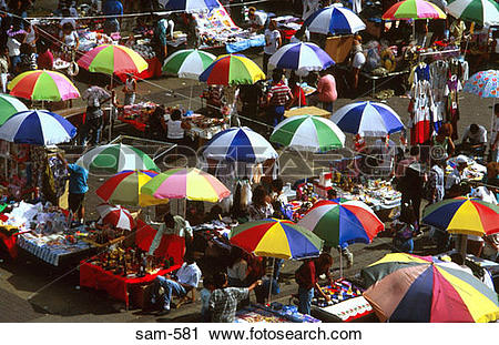 Stock Photography of Umbrellas Up in Caracas Marketplace Venezuela.