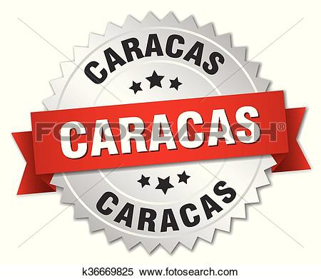 Clipart of Caracas round silver badge with red ribbon k36669825.