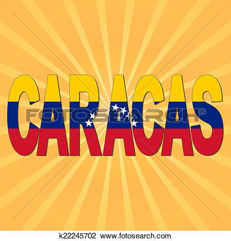 Clip Art of Caracas flag text with sunburst illustration k22245702.