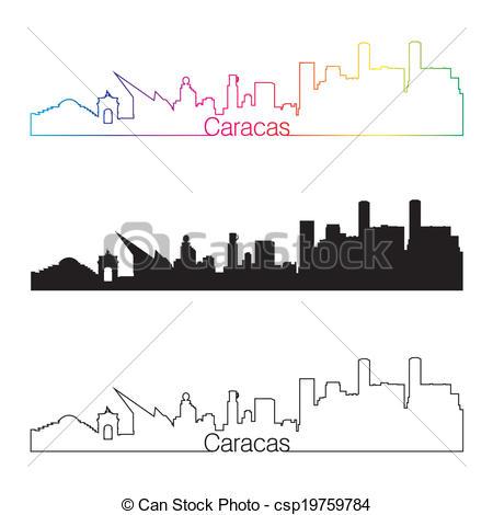 Vector of Caracas skyline linear style with rainbow in editable.