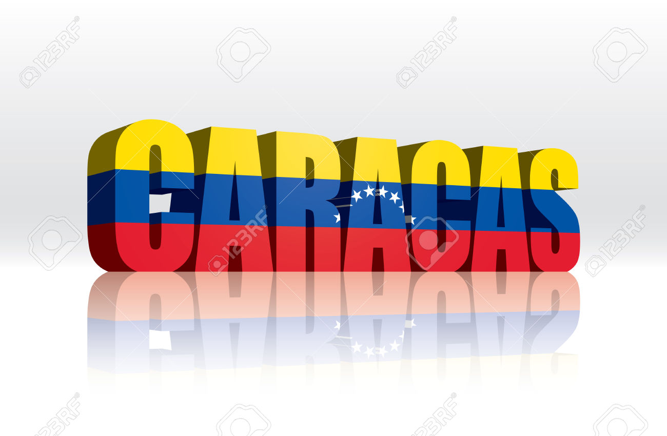 3D Vector Caracas (Venezuela) Word Text Flag Royalty Free Cliparts.
