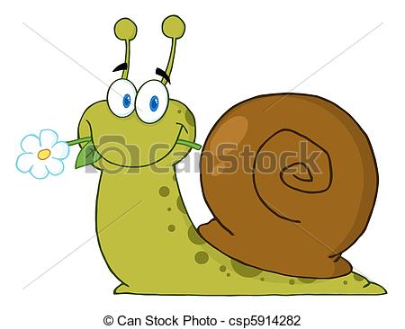 Vector Illustration of Happy Cartoon Snail With A Flower In Its.