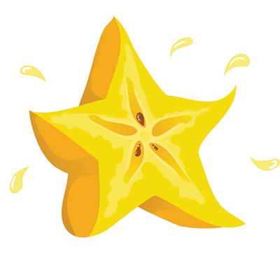 Star fruit clipart.