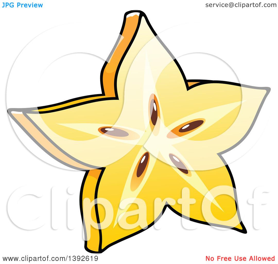 Clipart of a Cartoon Carambola Starfruit.
