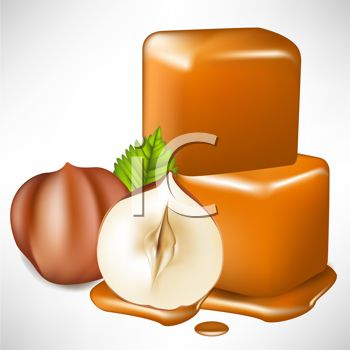 Picture of Pieces of Caramel and Almonds In a Vector Clip Art.