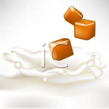 Picture of a Pieces of Caramel Floating Above Splashing Milk In a.