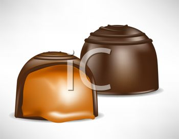 Picture of Two Pieces of Chocolate Filled With Caramel In a Vector.
