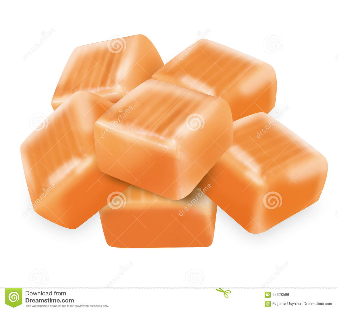 Square Candy Caramel With Clipping Path Stock Illustration.