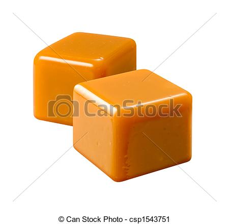Stock Photography of Caramel isolated on a white background.