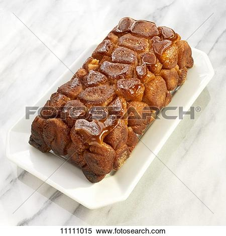 Stock Image of Loaf of Monkey Bread with Caramelized Sugar Topping.