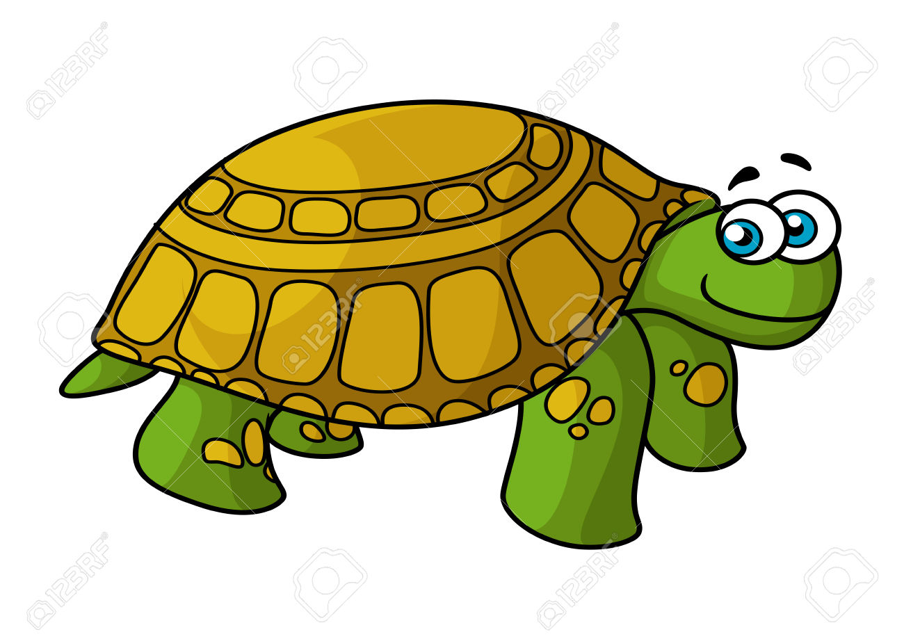 Cartoon Smiling Green Turtle Character With Yellow Spotted Hard.
