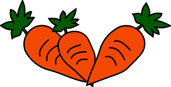 Cute Carrot Outline Clipart.