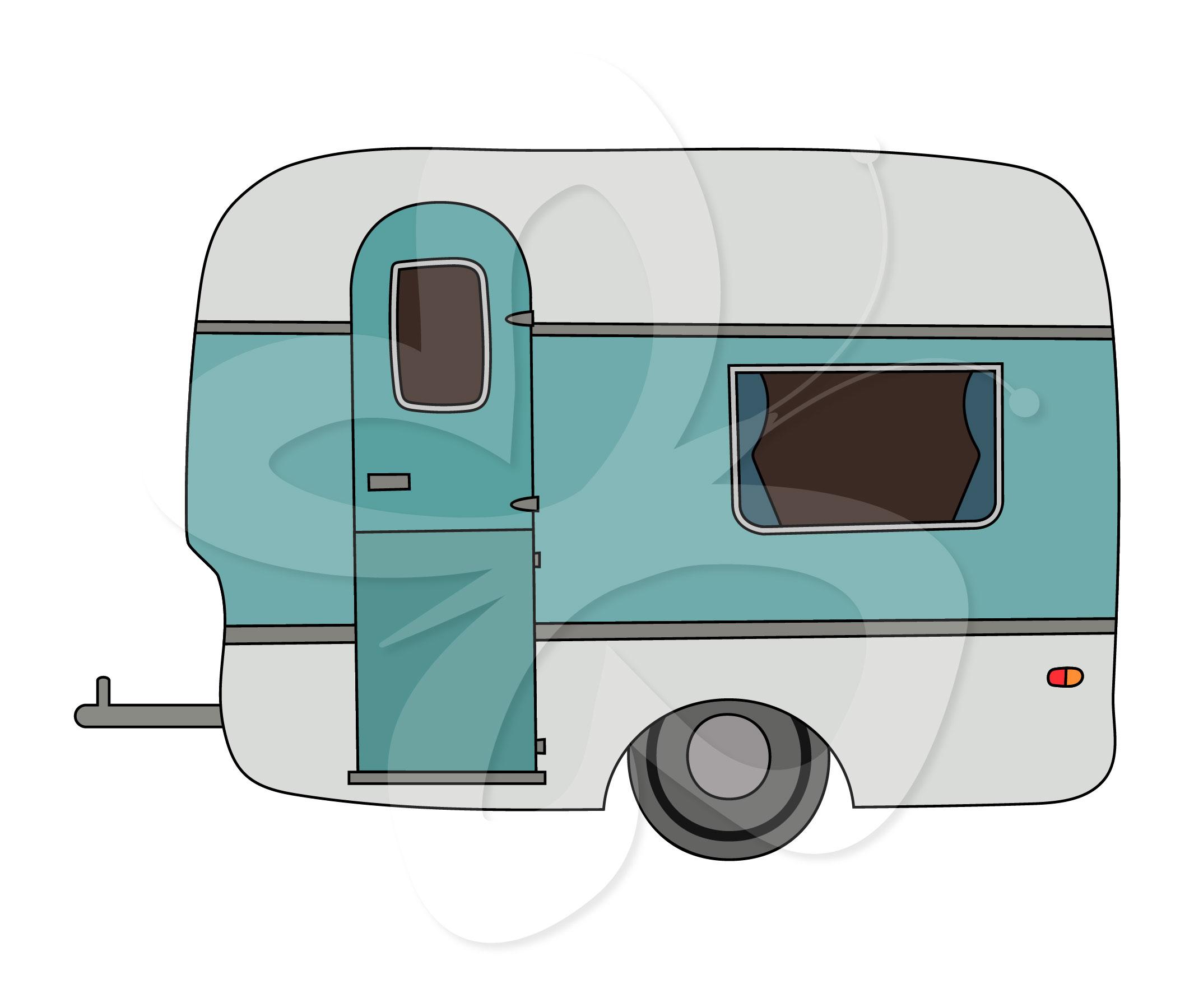 Retro Caravan Clipart.