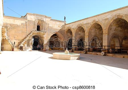 Pictures of Courtyard of medieval caravanserai.
