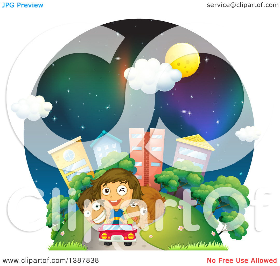 Clipart of Children Driving a Car Away from a City at Night.