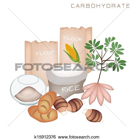 Clip Art of Health and Nutrition Benefits of Carbohydrate Foods.
