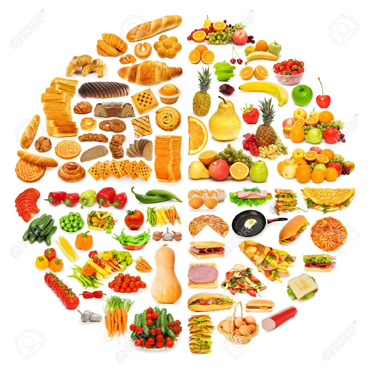 Foods with Carbohydrates Clip Art.