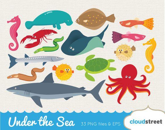 Buy 2 get 1 free vector under the sea clip art / sea creatures.