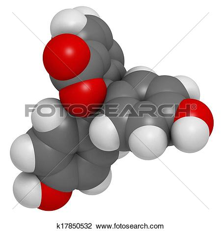 Clip Art of Phenolphthalein indicator molecule. Used in acid base.