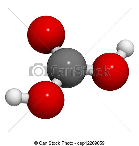 Stock Images of Carbonic acid (H2CO3) molecule, chemical structure.