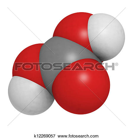 Picture of Carbonic acid (H2CO3) molecule, chemical structure.