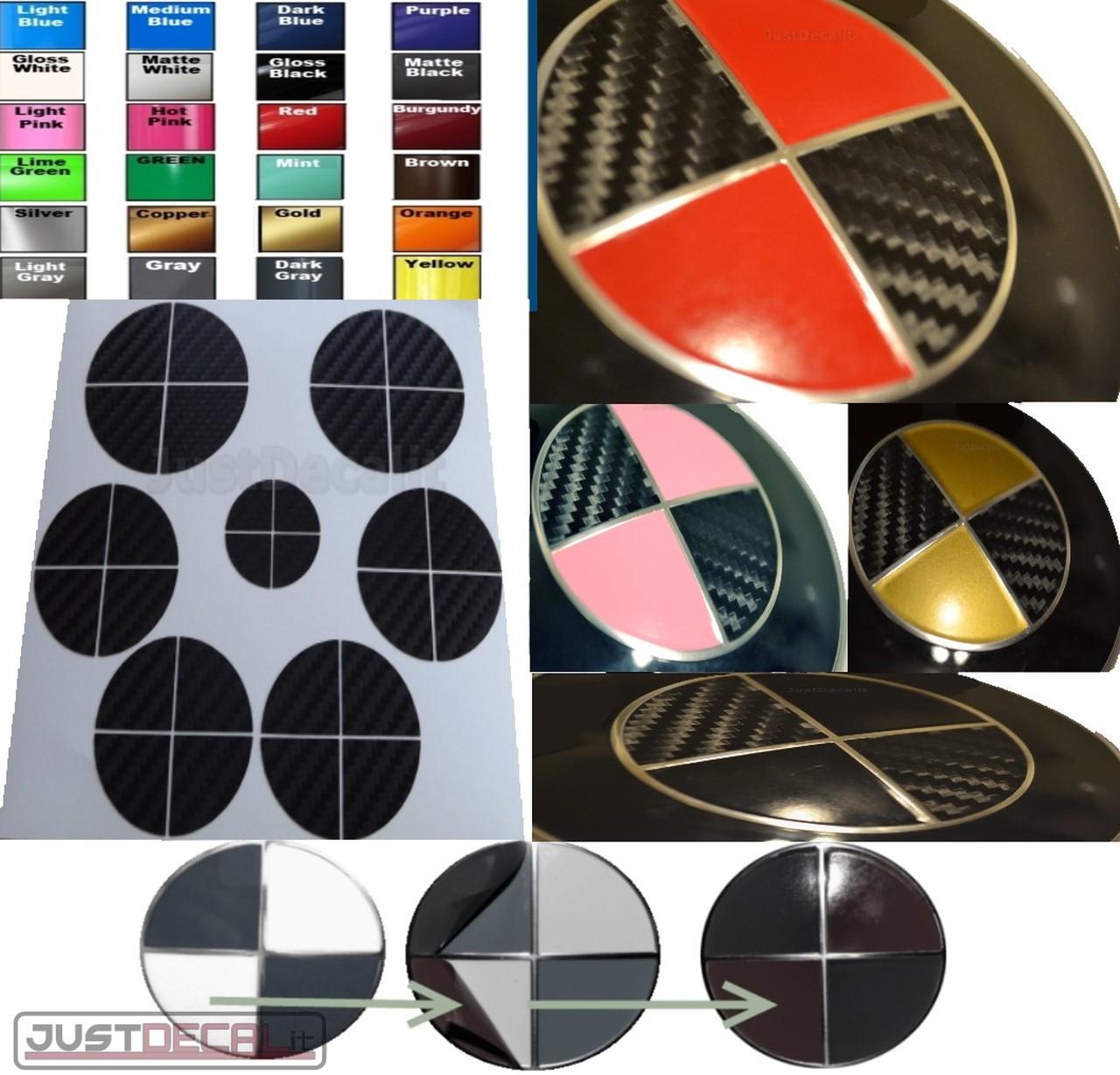 Carbon Fiber Black & Pick 2nd color Sticker Overlay COMPLETE SET FITS BMW  Emblem.