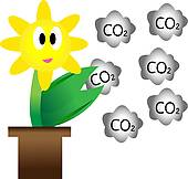 Stock Illustration of Flowers and carbon dioxide.Concepts to.