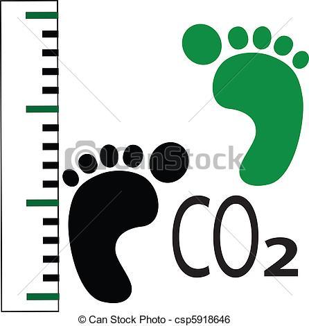 Clip Art Vector of carbon foot print csp5918646.