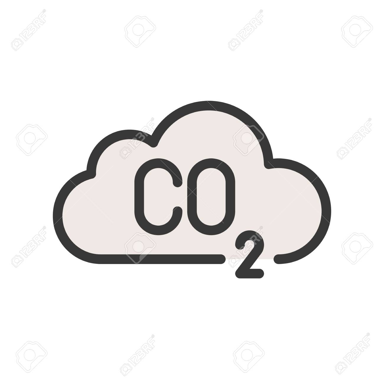 Carbon monoxide on cloud, Flat vector icon..