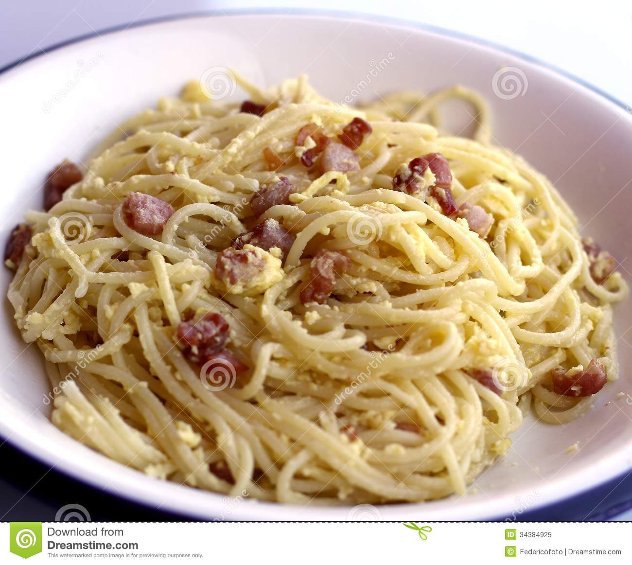 Spaghetti Carbonara With Bacon Egg And Parmesan In A Typical Ita.