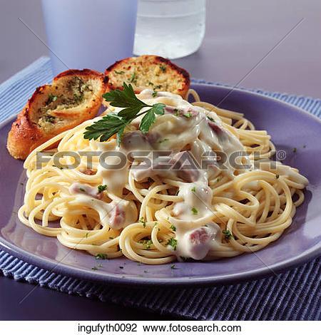 Stock Photo of Spaghetti Carbonara ingufyth0092.