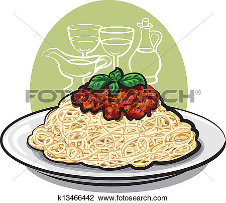 Clipart of Spaghetti with sauce k13466443.