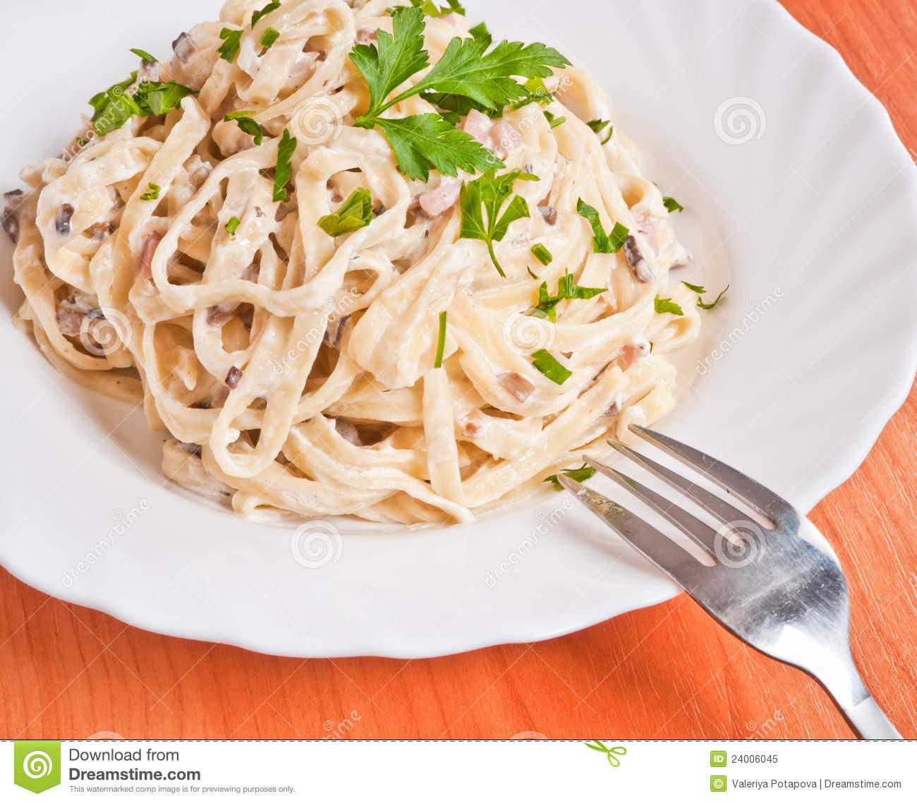 Spaghetti . Fettuccine Carbonara Royalty Free Stock Photo.
