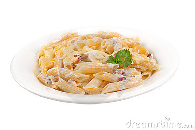 Pasta Carbonara On Plate Stock Images.