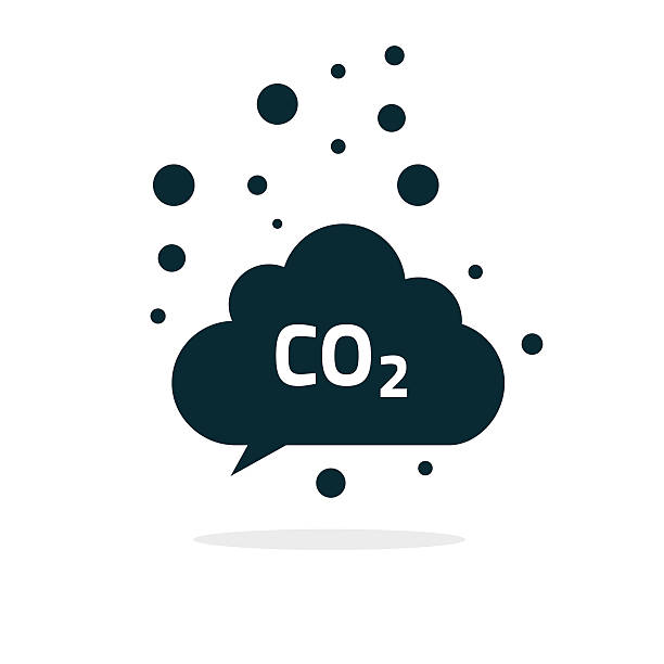 Co2 emissions cloud icon vector, carbon dioxide emits symbol.