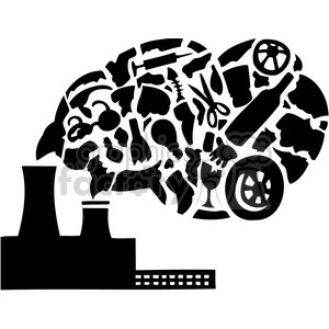 factory pollution releasing Carbon dioxide clipart. Royalty.