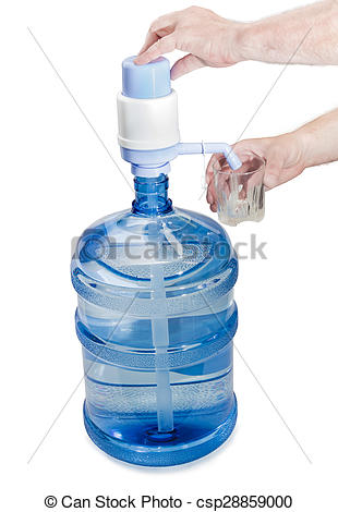 Stock Photography of Carboy with drinking water, hand pump and a.