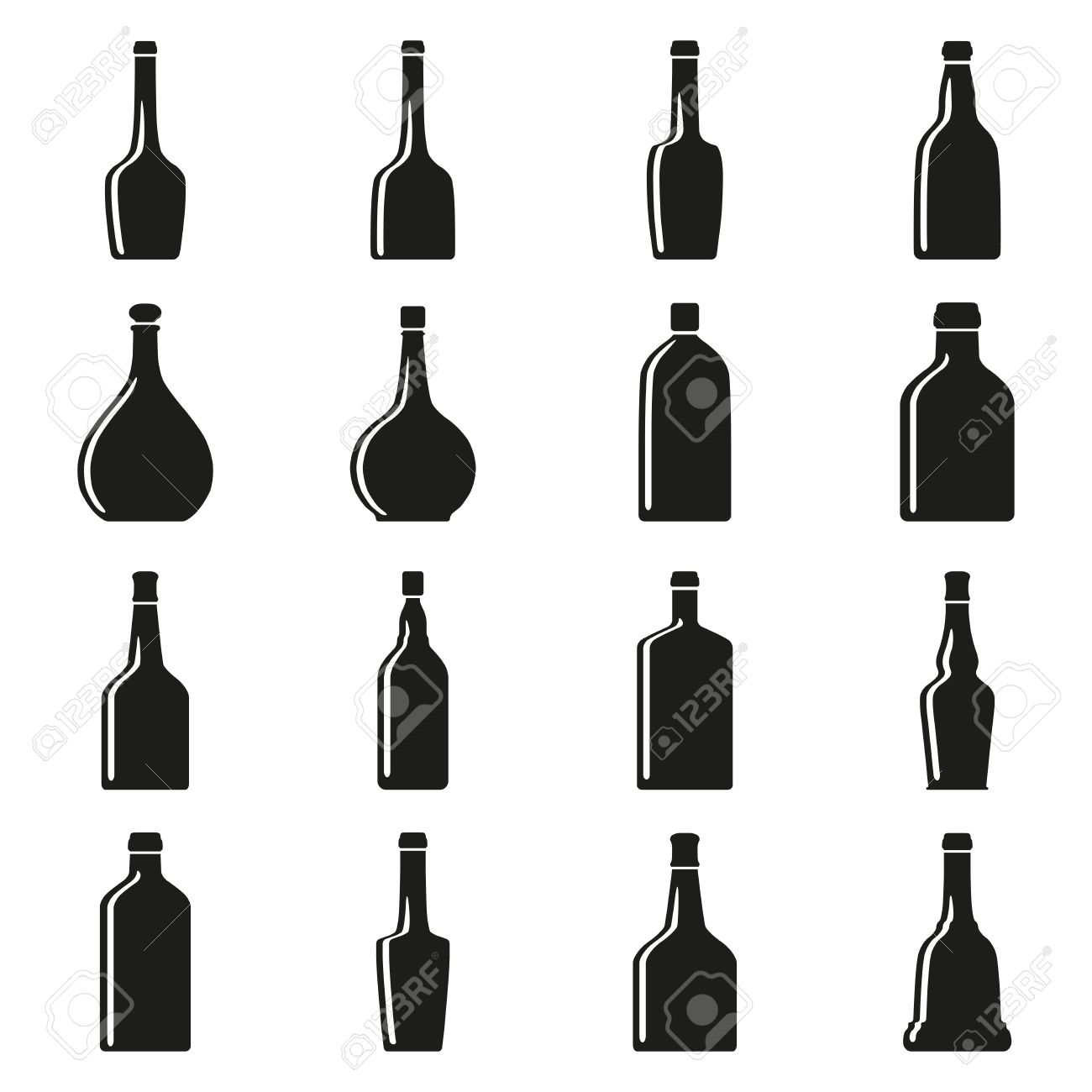Set Of Bottles Silhouettes Royalty Free Cliparts, Vectors, And.