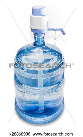Stock Images of Carboy with drinking water and hand pump k28858996.