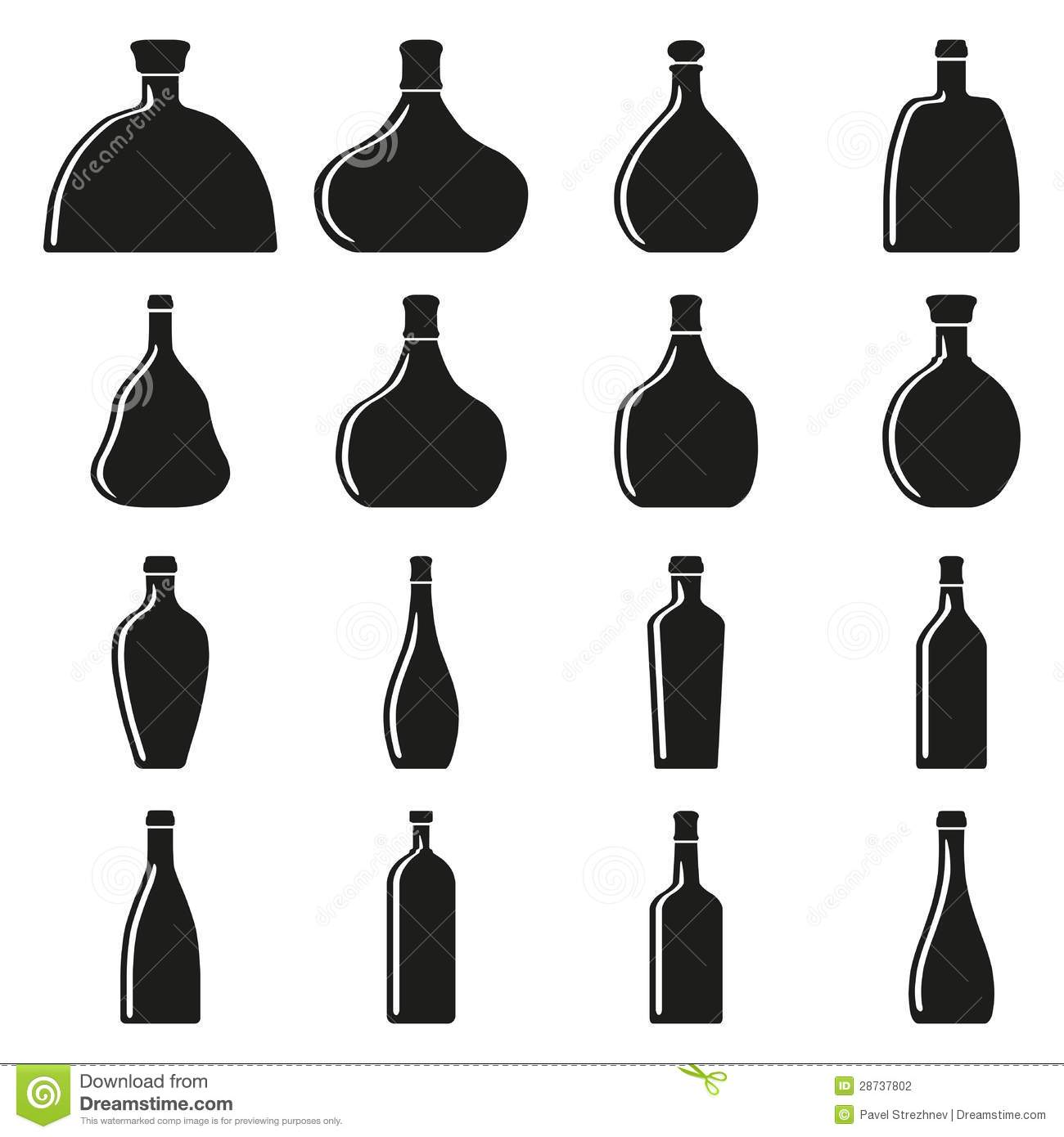 Set Of Bottles Silhouettes Stock Photography.