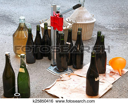 Stock Images of pour the wine in the backyard with the Carboy and.