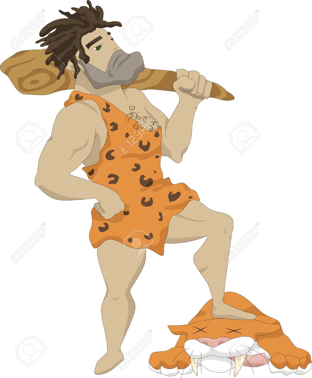 Illustration Of A Caveman With A Club In His Hands, At His Feet.