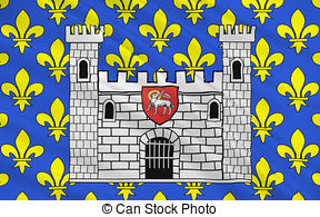 Drawings of Flag of Carcassonne, France.